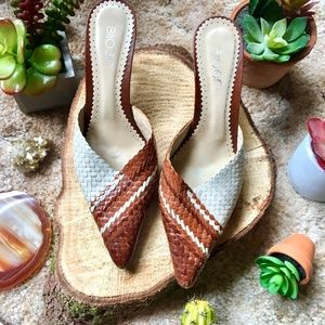 {Vintage Made in Portugal} Weaved Slip On Heels